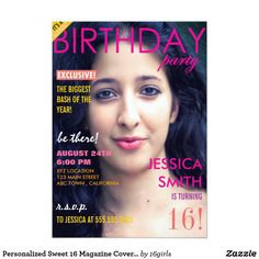 Personalized Sweet 16 Magazine Cover Photo Invites Personalized Sweet 16 Magazine Cover Photo Invites