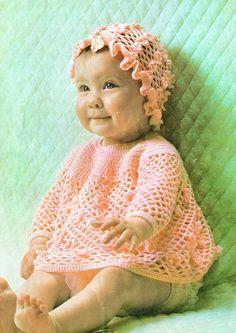 PDF Vintage Pretty Baby Girl Frilly Dress & Mob Cap Crochet