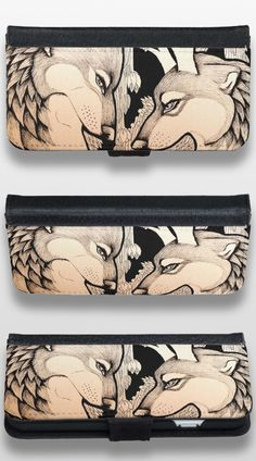 """The Ram"" Black and White Illustrated Wolf iPhone 6/6s Wallet Case #products #gifts #art #illustration"