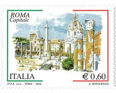 Italian stamps for sale are colorful like this stamp showing Rome, the Italian capital.