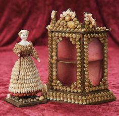 In the Company of the Gentleman Bespoken: 20 French Seashell and Coral Costumed Miniature Doll and Candy Container Cabinet