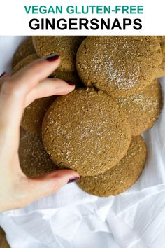 A delicious take on classic gingersnaps. These Vegan Gingersnaps have coconut butter in them to give them an extra dose of sweetness, flavor and buttery-ness. Vegan Christmas, Vegan Thanksgiving, Thanksgiving Desserts, Holiday Desserts, Holiday Cookies, Holiday Recipes, Vegan Treats, Vegan Desserts, Cookies Vegan
