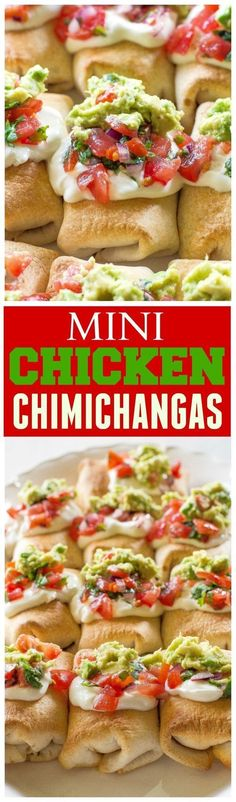 Mini Chicken Chimichangas - these mini Mexican appetizers are filled with creamy chicken and spicy Pepper Jack cheese. the-girl-who-ate-everything.com