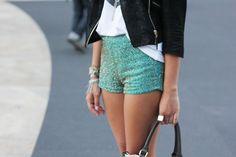 ROCKER CHIC, Turquoise shorts, black moto jacket