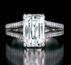 Emerald Cut Diamond Split Band Engagement Ring Setting Beyonce's Choice 0.64 tcw. In 14K white gold