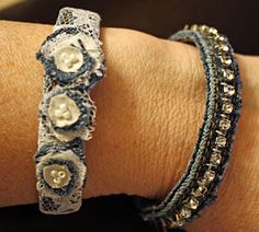 Brenda who blogs at Dragonflys and Stars made the cutest denim bracelets, embellishing them with lace and decorative accents Would you ever believe you could create something so cute using the sea...