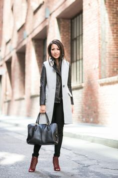 Top :: Intermix vest, J Brand jacket Bottom :: Banana Republic Bag :: Tod's Shoes :: Jimmy Choo.