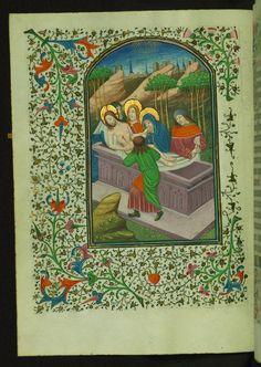 Book of Hours Entombment Walters Manuscript W.246 fol. 27v by Walters Art Museum Illuminated Manuscripts