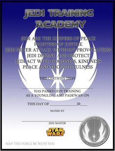 jedi academy certificate star wars birthday party invitation ideas - Jedi Knight Certificate Template