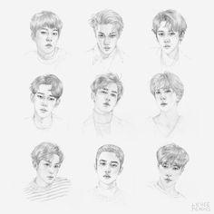 EXO by lycheepeaches Baekhyun Fanart, Kpop Fanart, Sehun, Kpop Drawings, Art Drawings, Exo Anime, Exo Fan Art, Korean Art, Sketch Inspiration