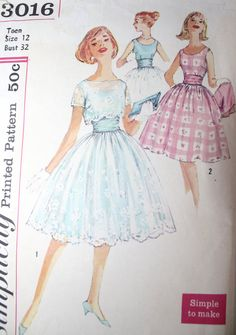 1950s+Party+Prom+Dress+/+Vintage+Simplicity+by+FoxyBritVintage,+$24.00