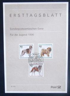 ETB BRD Hunderassen Barsoi Chow-Chow Bernhardiner Hund Jugend Briefmarken 1996