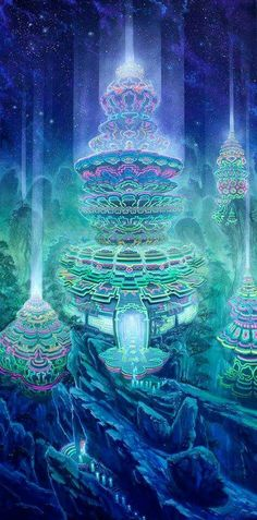 "Visionary Art by Jonathan Salter: ""Manifestation"" - Do you Remember This place? Do you Recall this Colors? Psychedelic Art, Fantasy World, Fantasy Art, Art Visionnaire, Psy Art, Anime Kawaii, Visionary Art, Fantasy Landscape, Fractal Art"