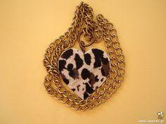 Pony skin heart necklace by Beezoo handmade creations on Etsy