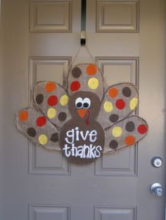 Cute door decor for Thanksgiving!!  ugh don't want to go there but does it need to be this easy?