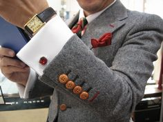 Love the simple ruby cufflink and all the matching stitching & accessories