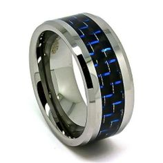 Blue Chip Unlimited -Extra Wide 10mm Designer Tungsten Carbide Black and Blue Carbon Fiber Men's Unique Wedding Rings Engagement Bands (Available in Sizes 7-17) Blue Chip Unlimited. $32.95. Designer 10mm Tungsten Carbide Band with Black & Blue Carbon Fiber Inlay. Comfort Fit Cobalt Free Band. Shape: Flat with beveled edges. Finish: High Polished. Sleek Unisex Ring (Not resizable)