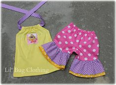 Custom Boutique Clothing Girl  Disney Princess Repunzle Tangled Halter Top and Short Set
