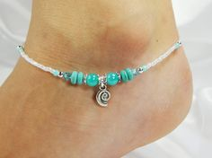 Anklet Ankle Bracelet Sea Shell Coil Charm por ABeadApartJewelry
