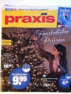'Feestelijke prijzen' wordt duidelijk gemaakt door de grote 9,99 die meteen opvalt in het midden. Praxis heeft verder geen producten afgebeeld behalve een kerstboom, wat zij natuurlijk ook rond die tijd van het jaar veel verkopen. Ook staat er een actie op met de film Frozen. Dit trekt mensen snel aan.