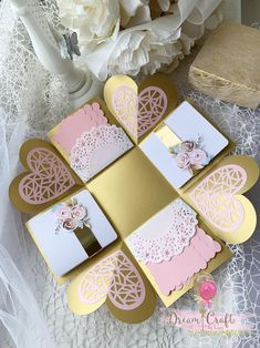 Valentines Pink and Gold Exploding Photo box, photo pop up box, explosion photo box, Perfect gift for your Anniversary/ Valentines Day Cool Paper Crafts, Paper Crafts Origami, Empty Gift Boxes, Pop Up, Photo Rose, Exploding Gift Box, Diy Crafts For Girls, Wedding Fans, Explosion Box