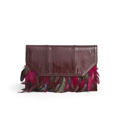 Kotur for Rachel Roy Watson Clutch - Garnet snake clutch with garnet  and winter rose feather fringe.