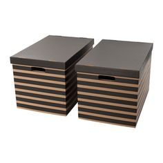 IKEA PINGLA Box with lid Black/natural 56x37x36 cm Suitable for storing or moving books and other heavy items, since the bottom is reinforced.