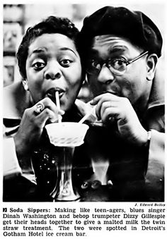 Dinah Washington and Dizzy Gillespie Sip Soda - Jet Magazine, May 5, 1955 by vieilles_annonces on Flickr.