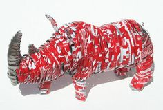 Rhino Recycled Tin Handmade Art Sculpture : Soft drink cans, Africa. By Maxwell Maumbe