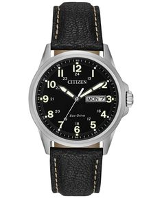 Citizen Men's Eco-Drive Black Leather Strap Watch 37mm AW0040-01E