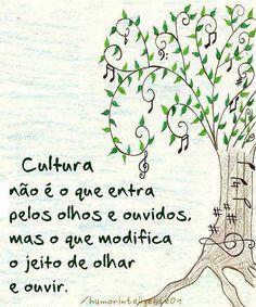 Cultura não é o que entra pelos olhos e ouvidos mais o que modifica o jeito de olhar e ouvir.