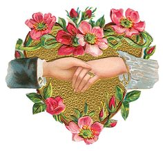 not the hands!with border / trellis Victorian Valentines, Vintage Valentines, Dr Valentine, Vintage Ephemera, Vintage Cards, Marriage Images, Victorian Crafts, Victorian Illustration, Illustration Blume