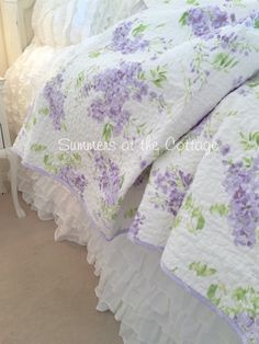 SHABBY COTTAGE CHIC LAVENDER WISTERIA LILAC QUILT / PILLOW SHAM(S)