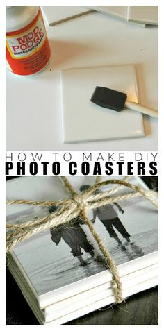 How to make DIY photo coasters - how to make simple DIY coasters, perfect . - How to make DIY photo coasters – how to make simple DIY coasters, perfect to give away! How To Make Coasters, Diy Coasters, Making Coasters, Diy Decoupage Coasters, Homemade Coasters, Easy Diy Gifts, Diy Crafts For Gifts, Creative Gifts, Diy Gifts To Make