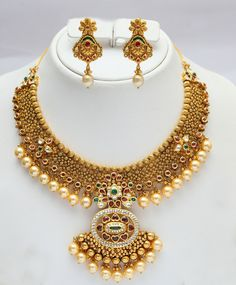 Gold & pearl Indian bridal set. Vummidi Bangaru Jewellers