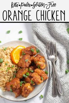 This Keto Orange Chicken is just as good as the original. It has tender chicken in a crispy crust coated in a flavorful orange sauce that's to die for! Lunch Recipes, Paleo Recipes, Low Carb Recipes, Real Food Recipes, Chicken Recipes, Dinner Recipes, Paleo Orange Chicken, Gluten Free Chinese, Keto Dinner