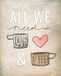 All We Need Is Love & Coffee Beautifully textured cotton by vol25