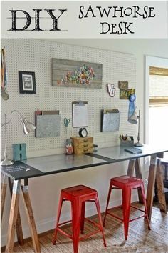 Perfect for our boys room, DIY Sawhorse Desk with Pegboard step by step instructions.