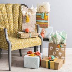 Think outside the baby shower box with a warm yellow, bright blue and soft coral color scheme.