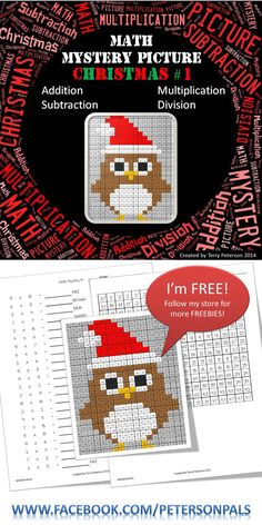I'm FREE! Download me and follow my store! You are getting 5 levels in one: 1. Color by Number 2. Addition 3. Subtraction 4. Multiplication (also identifies prime numbers) 5. Division. Your students will love bringing this Christmas owl with a Santa hat to life!