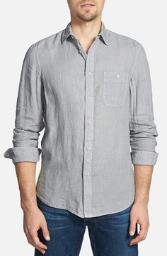 Men's Wallin & Bros. Trim Fit Washed Linen Sport Shirt