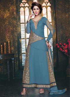 Steel Blue Georgette Ankle Length Anarkali Suit 59813