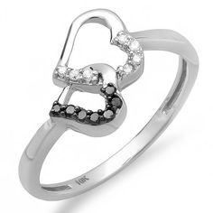 10k White Gold Round Black and White Diamond Ladies Promise Double Heart Love Engagement Ring (0.15 cttw, G-H Color, SI-I...