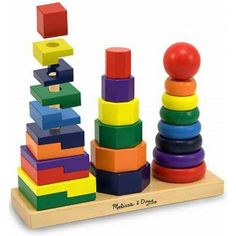 Melissa and Doug Kids Toys, Geometric Stacker - Toys & Games - Kids & Baby - Macy's Toddler Toys, Baby Toys, Kids Toys, Children's Toys, Baby Play, Wooden Educational Toys, Stacking Toys, Stacking Blocks, Stacking Rings