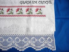 Hardanger crochet patchwork cover with delicate floral ornaments Crochet Borders, Filet Crochet, Embroidered Towels, Chrochet, Lace Trim, Delicate, Diy Crafts, Floral, Baby