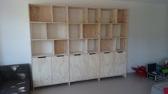 Cabinet of Underlayment Office Inspiration, Shelves, Home Projects, Rack Shelf, Cabinet, Plywood Design, Shelving Unit, Underlayment, Shelving