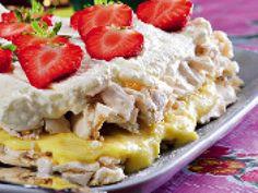 Bilderesultat for crisp tårta Candy Recipes, Baking Recipes, Bagan, Cookie Cake Pie, Delicious Desserts, Yummy Food, Pudding Desserts, Swedish Recipes, Bread Cake