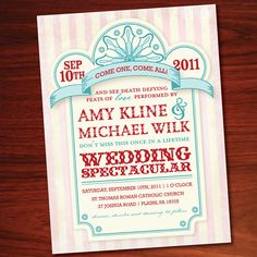 Printable Carnival Wedding Invitation Package Vintage Circus 50