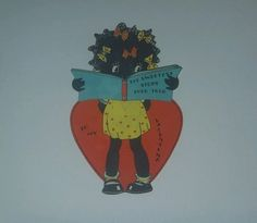 Vintage Black Americana Valentine bookmark card girl reading sweetest story ever