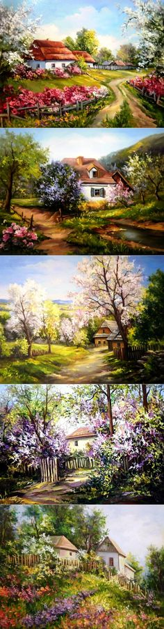 The landscape Anca Bulgaru spring – Mirella Guzman – Join the world of pin Landscape Edging, Landscape Art, Landscape Paintings, Oil Paintings, Cottage Art, Painted Cottage, Beautiful Paintings, Beautiful Landscapes, Driveway Landscaping